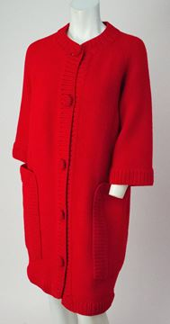 Vintage 1960s Knitted Button Front Red Sweater Dress