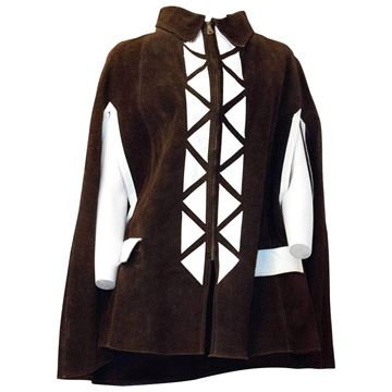 Vintage 1970s Suede White Triangle Embellished Chocolate Brown Cape