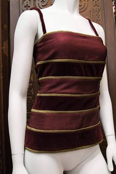 Gianni Versace 1980s Velvet and Striped Purple Vintage Two Piece Top