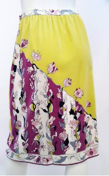 Emilio Pucci 1970s Velvet Floral Print Purple and Yellow Vintage Midi Skirt