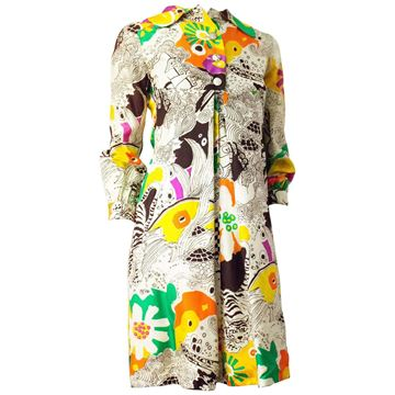 Vintage 1960s Graphic Psychedelic Print White Babydoll Dress