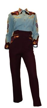Vintage 1940s Western Embroidered Brown Blue Shirt and Trouser Suit