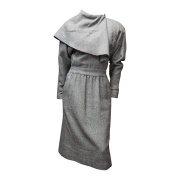 Chloe by Karl Lagerfeld 1980s Cashmere Caped Grey Vintage Dress
