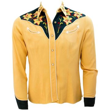 Vintage 1950s Yellow & Green Embroidered Western Shirt