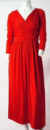 70s Red Silk Jersey Long Sleeve Ruched Bodice Maxi Dress