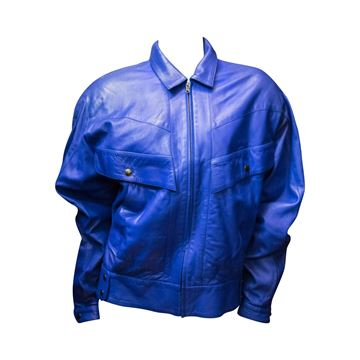 Vintage Claude Montana Lambs Leather Blue Bomber Jacket