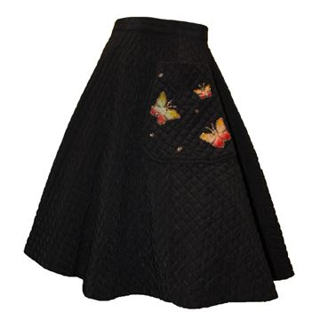 Vintage 1950s Hand Painted Butterfly Quilted Circle Black Skirt