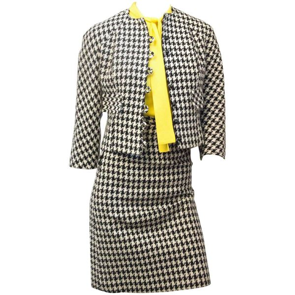 60s Mod Black & White Houndstooth Suit with Yellow Blouse