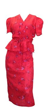 Diane Von Furstenberg 1970s Abstract Floral Print Wrap Red Vintage Ensemble