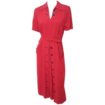 Vintage 1940s Button Detail Red Day Dress