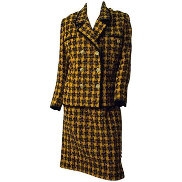 Richard Carriere 1980s Houndstooth Tweed Yellow Vintage Skirt Suit