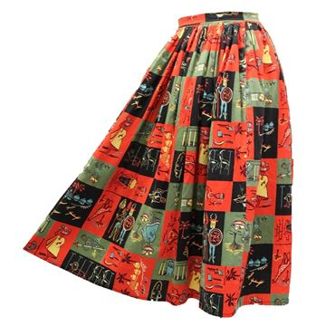 Vintage 1950s Jungle Print Red Cotton Circle Skirt