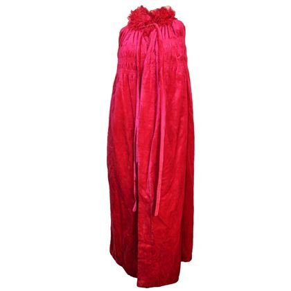 20s Saks Magenta Feathered Velvet Cocoon Cape