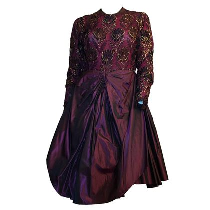 80s Galanos Purple Lace Cocktail Dress
