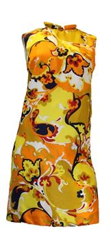 Vintage 1960s Psychedelic Print Yellow Shift Dress