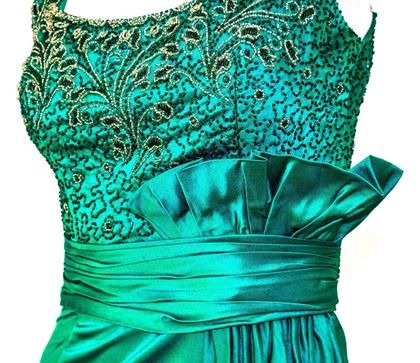 50s Green Satin Column Gown with Beaded Bodice and Gathered Waist Sash