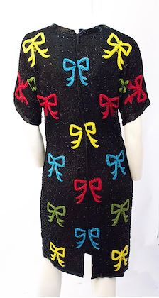 80s-black-beaded-dress-with-red-blue-green-yellow-bows