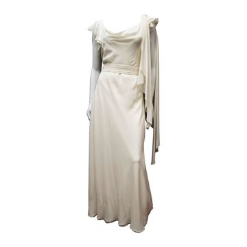 Vintage 1930's Ivory Silk Chiffon Grecian Dress