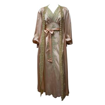 Vintage 1930s Two Piece Pink Silk Gown and Robe