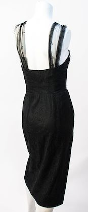 50s Black Chantilly Lace Cocktail Dress