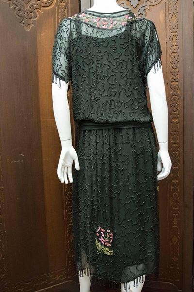 1920s Black Beaded Flapper Dress