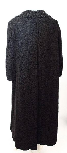 60s Black Crochet Lace Coat with Beaded Collar