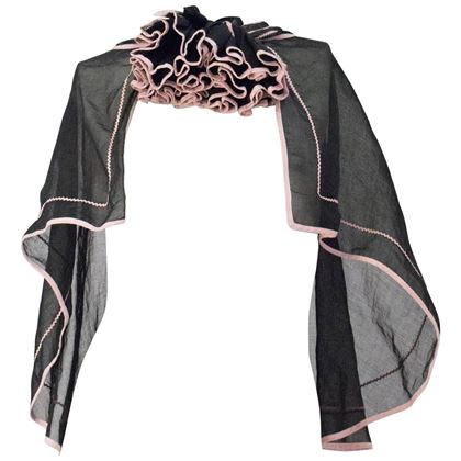 30s Black Silk Voile Capelet with Pink Trim