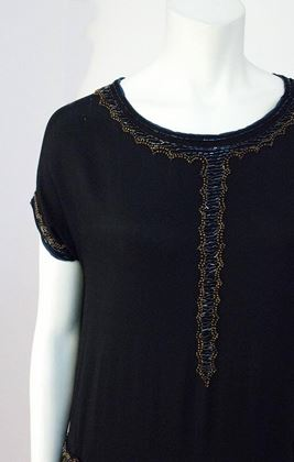 Vintage 1920s Beaded Black Silk Drop Waist Dress