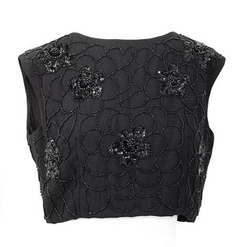 Vintage 1960s Floral Beaded Black Crop Top
