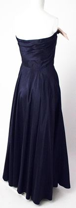50s Navy Taffeta Strapless Gown with Pink Satin Hip & Bust Bow