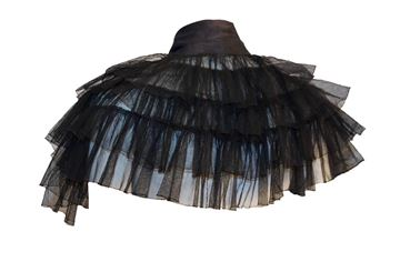 Vintage 1930s Black Mesh Ruffled Capelet