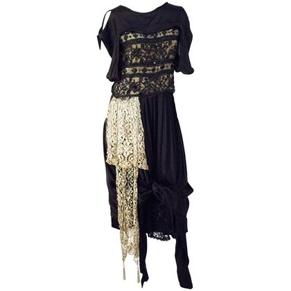 Edwardian Black Silk Evening Gown with Silver Lamé Lace & Beading