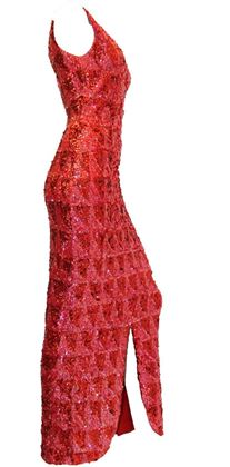 Vintage 1950s to 1960s Sequined Knit Red and Pink Evening Dress