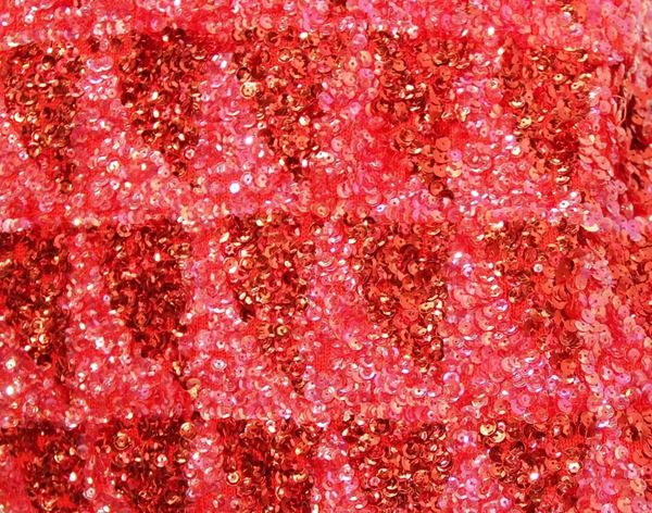 Gene Shelley Red and Pink Sequined Knit Evening Dress with Slit Front, 1960