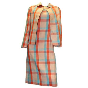 Givenchy 1960s Plaid Rayon Silk Pink Vintage Dress Suit