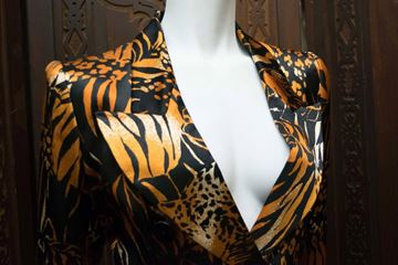 Yves Saint Laurent 1980s Animal Print Double Breasted Brown Vintage Blazer