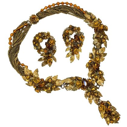 40s Robert deMario Amber & Gold Tone Necklace and Earrings Set