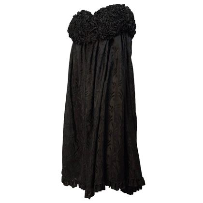 Edwardian Black Brocade Cape with Ruffled Collar