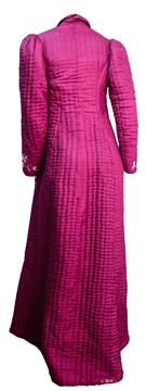 Antique Edwardian Quilted Embroidered Magenta Robe