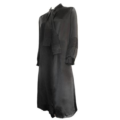 20s Black Silk Coat Dress