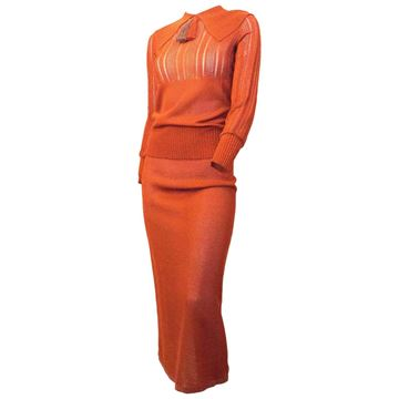 Vintage 1930s Knit Orange Midi Skirt and Top Set