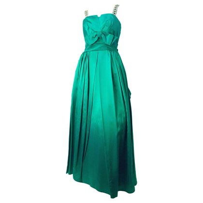 60s Emerald Green Satin Gown