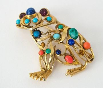 Vintage 1950s Frog Multicoloured Stone Gold Tone Metal Brooch