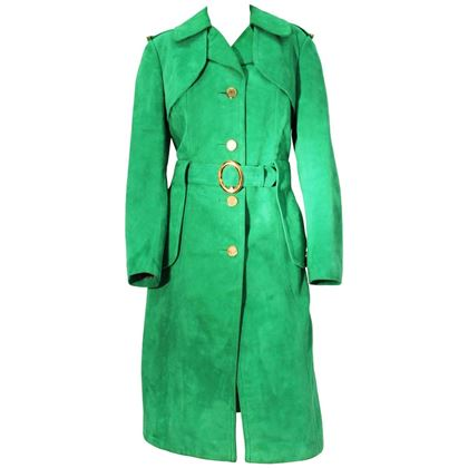 1970's Vintage Green Suede Trench Coat