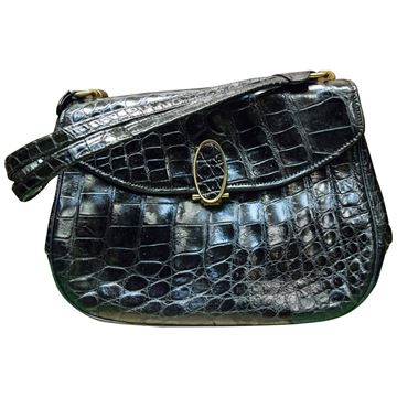 Vintage 1950s Alligator Skin Black Handbag