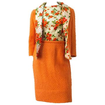 Lilli Ann 1950s Tweed Orange Skirt Suit