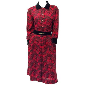 Celine 1980s Floral Red & Black Two Piece Set