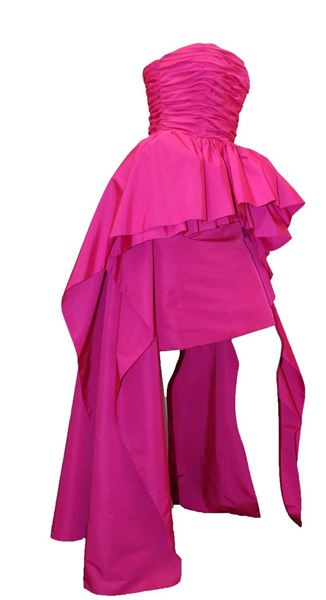 80s Victor Costa Saks Fifth Ave Pink Strapless Gown