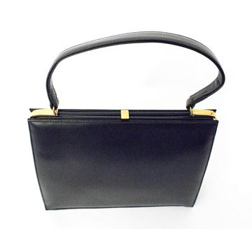 Dofan 1950s Black Vintage Leather Handbag