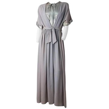 Vintage 1930s Grey Silk House Gown